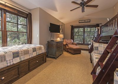 Bedroom #4-Large bunk room with 3 twin beds and 2 full beds, HDTV