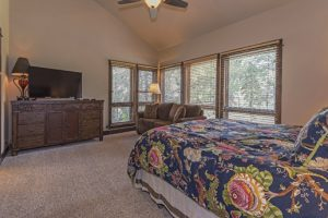 Bedroom #1- King bed, golf course views, hid-a-bed couch, large HDTV