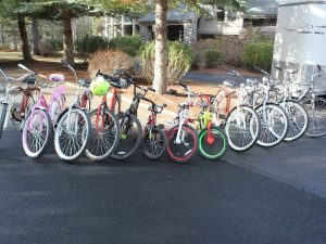 More than a dozen bikes in a variety of sizes for your use.