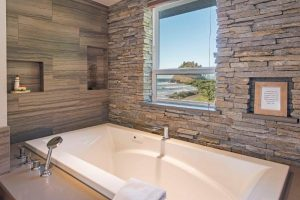 Spa bathrooms in master suites. large tub, walk in shower